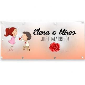 STRISCIONE MATRIMONIO JUST MARRIED ROSA